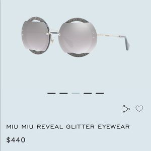 MIU MIU Reveal  Eyewear in mirrored silver